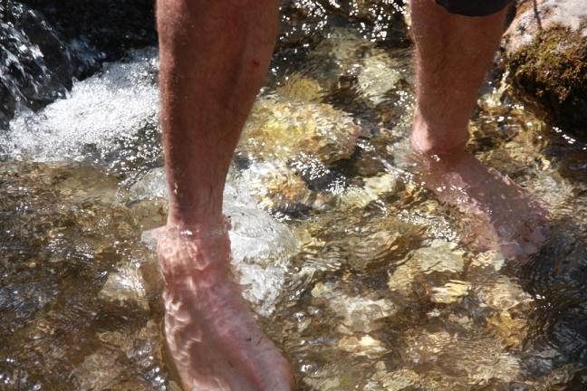 Wassertreten im Gebirgsbach auf der Hintergnadenalm in Untertauern